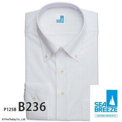 ワイシャツ長袖形態安定メンズ標準SEABREEZEアイスキープ冷感加工高通気[P12S1X010]