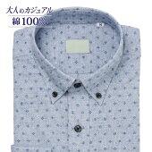 カジュアルシャツ長袖メンズ標準PLATEAUボタンダウン綿100%本縫い仕様ライトブルー地ブルー飛び柄[P13PLB254]