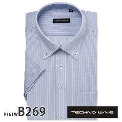 ワイシャツ半袖形態安定メンズ標準TECHNOWAVEボタンダウンノーアイロンアイロンゼロシャツストレッチ高通気性吸水速乾別生地[P16S1TW01]