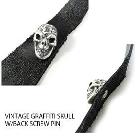 【BWL】Bill Wall Leather ビルウォールレザー【送料無料】【あす楽】VINTAGE GRAFFITI SKULL W/BACK SCREW PIN ビンテージ グラフィティスカルw/バックスクリューピン/ピン/スカル