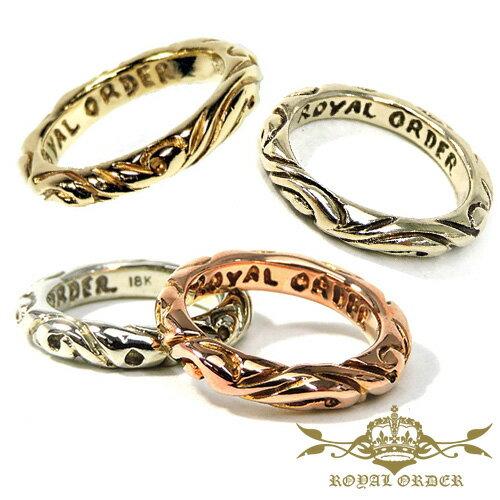 【ROYAL ORDER】ロイヤルオーダー【送料無料】【あす楽】/18K RIBBON BAND RING 18Kゴールドリボンバンドリング/US9-10.5(JP#19〜#23)/シンプル/スペーサー/ブライダル/スクロール/ゴールド/リング