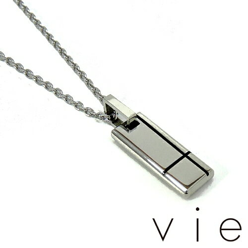 【vie】ヴィーサージカルステンレスネックレス/クロスプレートネックレス/ブラック/クロス/チェーン付き/アレルギーフリー