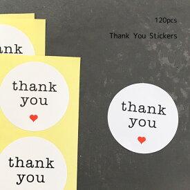 Thank You【ブロック体】丸型 白紙 赤ハートシール 120枚結婚式 thank you サンキュー シール ありがとう サンキュータグ プチギフト ステッカー サンキュータグ サンキューシール