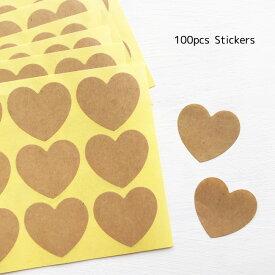 クラフト 無地 ハート型 シール 100枚メッセージ ケーキ クッキー ステッカー ラウンド ラッピング用品 クラフトシール メモ メモシール