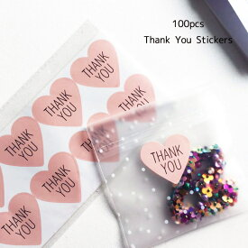 Thank You ピンクハート 黒文字 シール 100枚結婚式 thank you サンキュー シール ありがとう サンキュータグ プチギフト ステッカー サンキュータグ サンキューシール