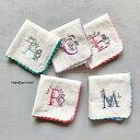 日本製【メルヘン】イニシャル タオルハンカチ 綿100%約23×23cm ガーゼハンカチ 名入れ タオル ハンカチ イニシャル…