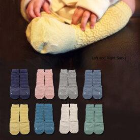 ベビーソックス ZIP袋【ジオメトリックハイソックス】靴下 日本製 9-13cmシルク入り 抗菌防臭加工 赤ちゃん ベビー ソックス 子供 滑り止め ノックノック Left and Right Socks ハイソックス