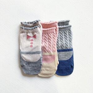 靴下3足組【マシュマロSET】日本製ノックノック3P3足LRベビーソックス9-13cm滑りどめ付赤ちゃんキッズ子供KnockKnock