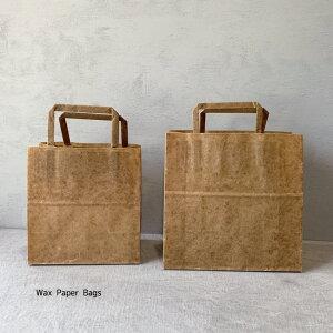 ロウ引き 紙袋 10枚SET ワックスペーパーバッグ手提げ ロー引き 手提げ袋 蝋引き ワックスペーパー 未晒クラフト 手提げ ラッピング ギフト みざらし ナチュラル 未晒 クラフト紙 Wax Paper Bags
