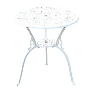 送料無料 アルミ鋳物ガーデンテーブル ホワイト アルミガーデンテーブル 軽量で持ち運び簡単 エレガント ガーデンファニチャー ガーデンテーブル アルミ テーブル キャンプテーブル アル