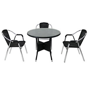 送料無料 ガーデンチェア ガーデン チェア ラタンチェア ラタン テーブル ラタンテーブル 人工ラタンチェア3脚 丸テーブル1台 4点セット 強化ガラス ブラック 籐 肘掛けカバー付き 家具 ファ