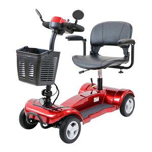 送料無料 電動シニアカート 赤 電動カート シルバーカー サイドミラー 車椅子 TAISコード取得済 運転免許不要 電動車いす 電動車椅子 介護 福祉 バックミラー 鏡 充電 シート回転 折りたたみ