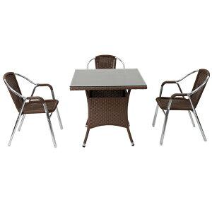 送料無料 ガーデンチェア ガーデン チェア ラタンチェア ラタン テーブル ラタンテーブル 人工ラタンチェア3脚 四角テーブル1台 4点セット 強化ガラス ウォールナット 籐 肘掛けカバー付 家