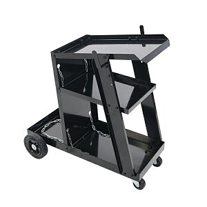 送料無料 ウェルダーカート 黒 ボンベカート ウェルディングカート 溶接機移動台 溶接機台 耐荷重約50kg 固定用チェーン付き ステー キャスター タイヤ 3段トレー ワゴンカート 溶接機 台車