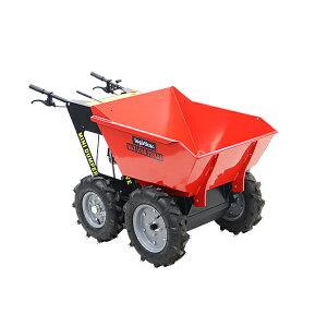 送料無料 ダンプカート エンジン式 Honda GXV160内蔵 4ストロークエンジン 最大積載重量約250kg 積載容量約200L 5.5馬力 4輪 ダンパー エンジン 台車 運搬車 赤 運搬機 運搬用 土 砂 土砂 歩行型運搬