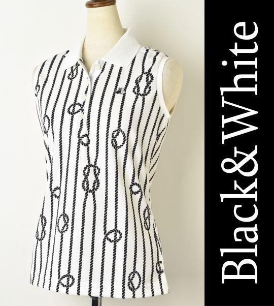 【2018春夏新作】【送料無料】ブラック&ホワイト ノースリーブポロシャツ【Black&White】【M/L/LL】【トップス】【レディース】【ゴルフ】【あす楽_翌日着荷可】【あす楽_土日祝日も営業】