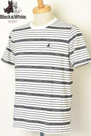 【30%OFFセール】【2019春夏新作】【送料無料】ブラック&ホワイト 半袖Tシャツ【Black&White】【M/L/LL】【トップス】【メンズ】【ゴルフ】【あす楽_翌日着荷可】