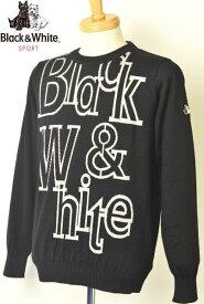 30%OFFセールブラック&ホワイト ゴルフ Black&Whiteクルーネックセーター メンズ 2019秋冬新作 送料無料M-L-LL トップス ブラック アンド ホワイトあす楽_翌日着荷可