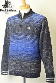 30%OFFセールブラック&ホワイト ゴルフ Black&Whiteハーフジップセーター メンズ 2019秋冬新作 送料無料M-L-LL トップス ブラック アンド ホワイトあす楽_翌日着荷可