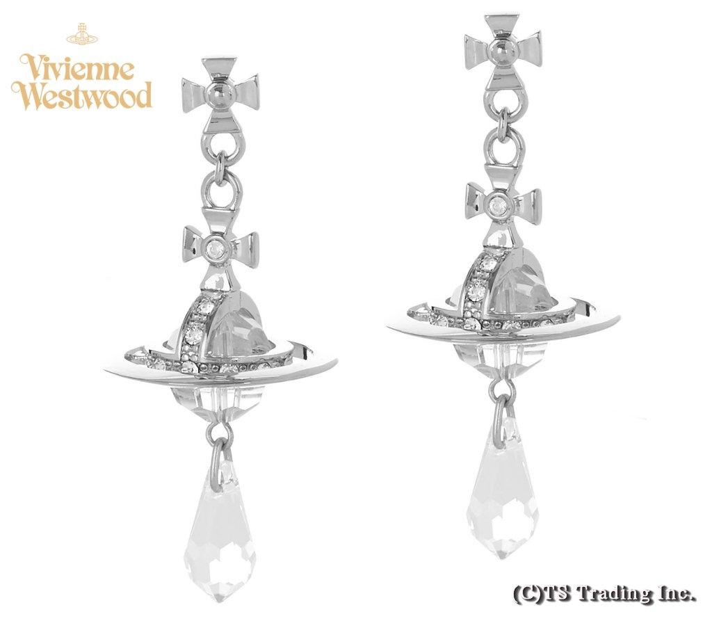 Vivienne Westwood ヴィヴィアンウエストウッド★Crystal Drop Orb Pierced Earrings クリスタル ドロップ オーブ ピアス (SV)【あす楽対応】【YDKG-k】【W3】【送料無料】【smtb-k】