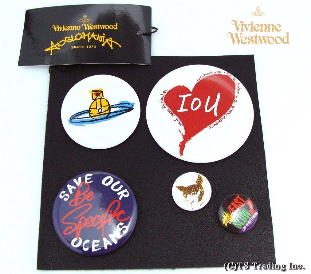 Vivienne Westwood ヴィヴィアンウエストウッド Political Logo Can Badge Set (Anglomania) 新作!メッセージ ロゴ 缶バッジセット(5個でお得♪)【あす楽対応】【YDKG-k】