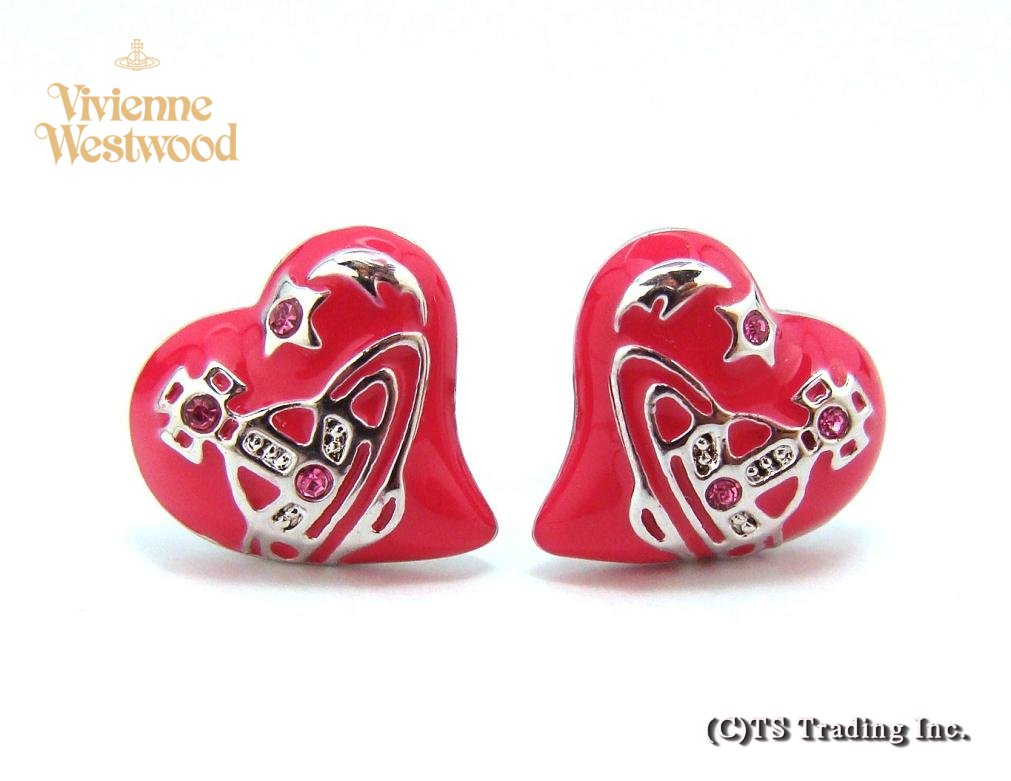 Vivienne Westwood ヴィヴィアンウエストウッド★Elizabeth Heart Orb Pierced Earrings エリザベス オーブ ピアス(Fuchsia)【あす楽対応】【YDKG-k】【W3】【送料無料】