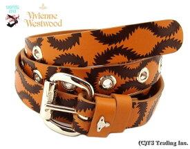 Vivienne Westwood ヴィヴィアンウエストウッド★Squiggle Leather Belt スクイグル柄 レザー ベルト ワールズエンド 限定版 (Ocher/BR)【あす楽対応】【YDKG-k】【W3】【送料無料】