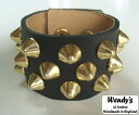 ★WENDY'S★ウェンディーズ★正規 イギリス製2×1Row Conical Stud Wrist Band2×1 コニカル スタッズ リストバンド(G…