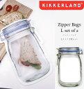 【メール便可 送料280円】 Zipper Bags L set of 2 ジッパーバッグ Lサイズ 2枚入 KIKKERLAND キッカーランド 保存バッグ ...