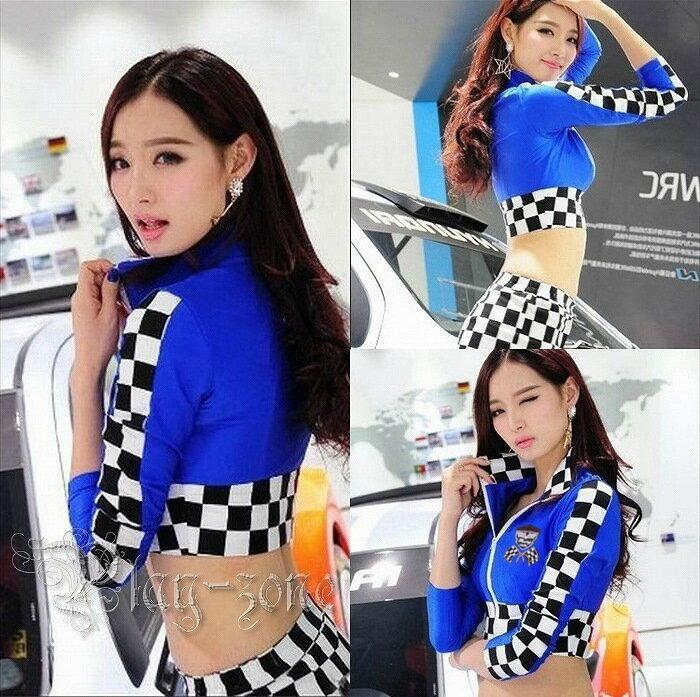 【ネコポスは送料無料】レースクイーン コスプレ 衣装 キャンギャル コスチューム ブルー D138A