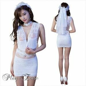 【メール便は送料無料】ウェディングドレス仮装コスプレセクシーコスチュームコスプレ衣装3点セットボディコンミニドレスホワイトD118