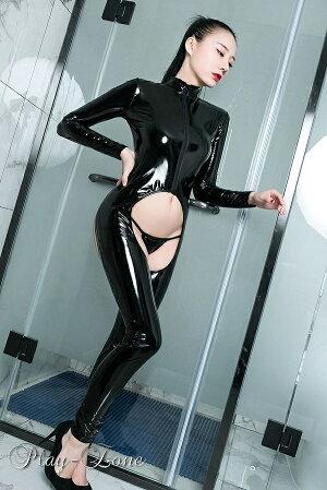 キャットスーツコスプレセクシーレザーラバースーツ仮装衣装セクシーコスチュームボディラインボディスーツボディコンジャンプスーツ2頭ファスナーエナメル加工ブラックレッド黒赤C140