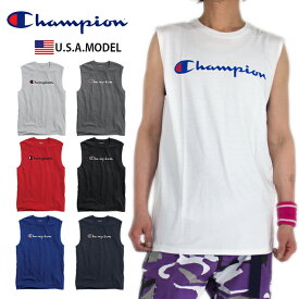 【ネコポス】チャンピオン Tシャツ スクリプト マッスルT CHAMPION ビッグロゴ ノースリーブ Tシャツ タンクトップ レディース メンズ USAモデル 大きいサイズ チャンピオン ホワイト 白 ブラック ダンス 衣装 チーム S M L XL LL 2XL クリスマスプレゼント