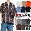 ベンデイビス ワークシャツ BEN DAVIS ワークシャツ 半袖 ハーフジップ シャツ ベンデイビス ワークシャツ BEN DAVIS 作業服 エプロン カーキ ストライプ ブラック 黒 オレンジ 父の日 プレゼント