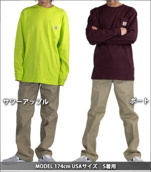 CARHARTTカーハートワンポイントロンT胸ポケット付き長袖TシャツMen'sLongSleeveWorkwearPocketT-Shirtメンズアメカジ作業服大きいサイズ無地ギフト新生活