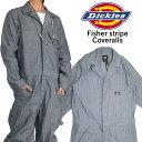 ディッキーズ つなぎ DICKIES カバーオール フィッシャーストライプ 長袖 ツナギ 作業着 作業服 メンズ レディース 大…