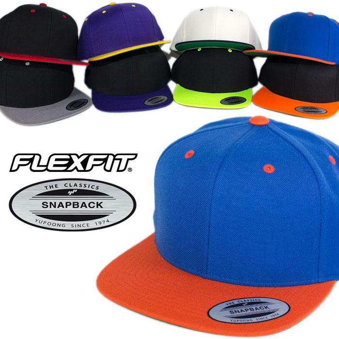 FLEXFIT キャップ フレックスフィット スナップバックキャップ 帽子 ブラック 黒 ネイビー レッド ネオンカラー 無地 ツートン