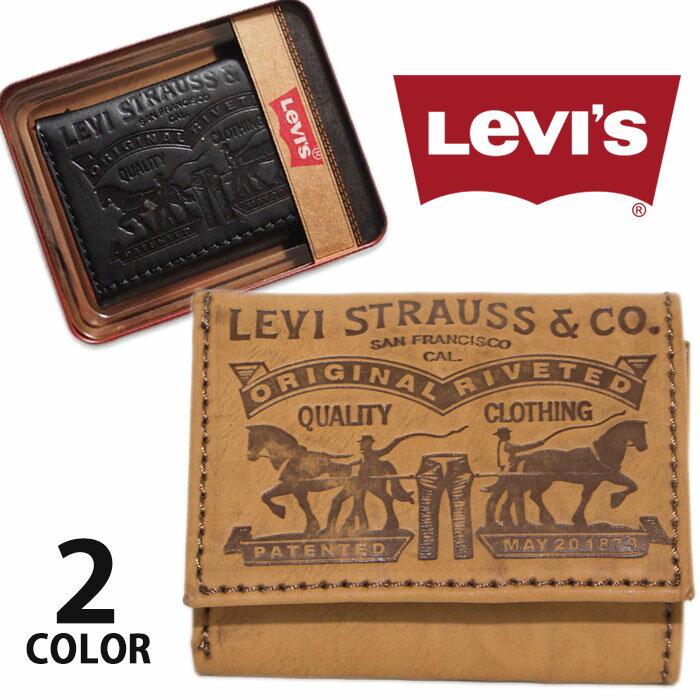 LEVI'S リーバイス 三つ折り財布 ブラック 黒 ブラウン ウォレット メンズ アメカジ