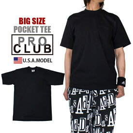 【2XL 3XL】無地 ポケット付きTシャツ プロクラブ PROCLUB ヘビーウエイトTシャツ メンズ ブラック 黒 アメカジ B系 ストリート系 ヒップホップ 父の日プレゼント