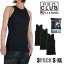 【3枚組み】プロクラブ タンクトップ PRO CLUB 無地 メンズ 大きいサイズ 3枚組み 3枚セット ブラック A-シャツ pro club a-shirts コ…
