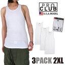 【2XL】【3枚組み】プロクラブ タンクトップ PRO CLUB 無地 メンズ 大きいサイズ 3枚組み 3枚セット ホワイト A-シャツ pro club a-shirts コットン 綿 ノースリーブ タンク トップ 父の日 プレゼント