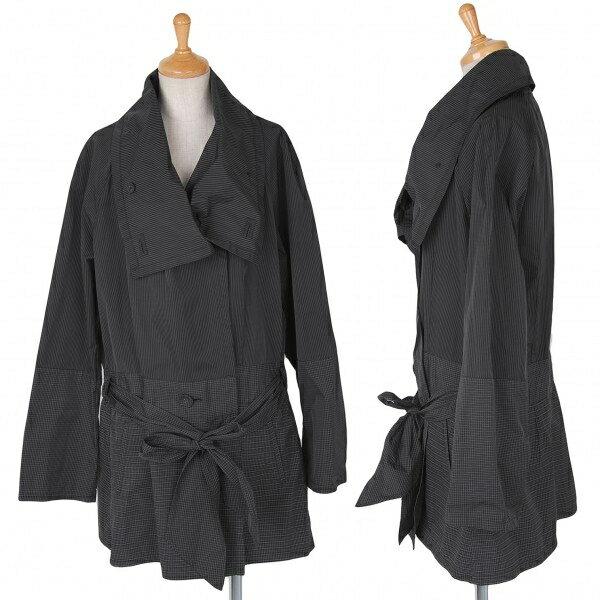 【SALE】イッセイミヤケ ハートISSEY MIYAKE HaaT チェックストライプ切替羽織コート 黒グレー3【中古】