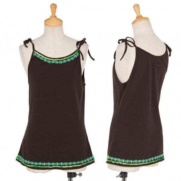 【SALE】ジャンポールゴルチエ ファムJean Paul GAULTIER FEMME 装飾肩紐コットンウレタンキャミソール 茶色40