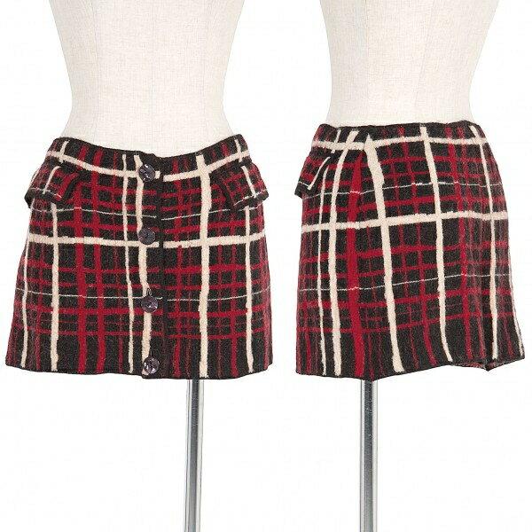 【SALE】ジャンポールゴルチエファムJean Paul GAULTIER FEMME デザインチェックウールスカート 黒赤白40【中古】