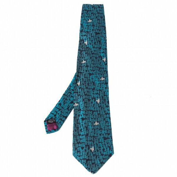 ヴィヴィアンウエストウッドマンVivienne Westwood MAN ロゴ総柄ネクタイ ブルー【中古】