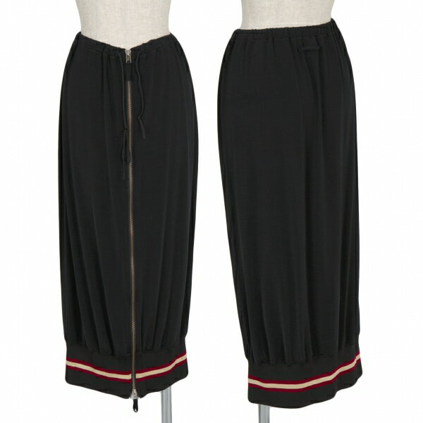 ジャンポールゴルチエファムJean Paul GAULTIER FEMME ナイロンポリ裾リブジップスカート 黒40【中古】