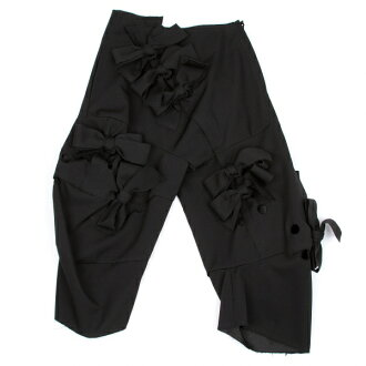 Comme des Garçons COMME des GARCONS woolgalba Ribbon decoration bonding hole perforated pants black XS