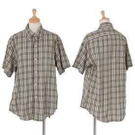【BIG SALE】45rpm チェック半袖ボタンダウンシャツ 黄緑青2