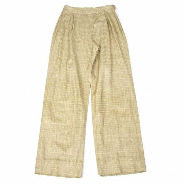 エンポリオ アルマーニEMPORIO ARMANI シルクグラフチェック織りパンツ 濃淡ベージュ42【中古】