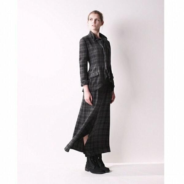 【SALE】ヨウジヤマモト ノアールYohji Yamamoto NOIR ウールナイロン裁ち切り変形デザインジャケット チャコールグレー1